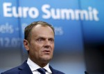 European Council President Donald Tusk addresses a news conference after an euro zone leaders summit in Brussels, Belgium, July 13, 2015. REUTERS/Francois Lenoir